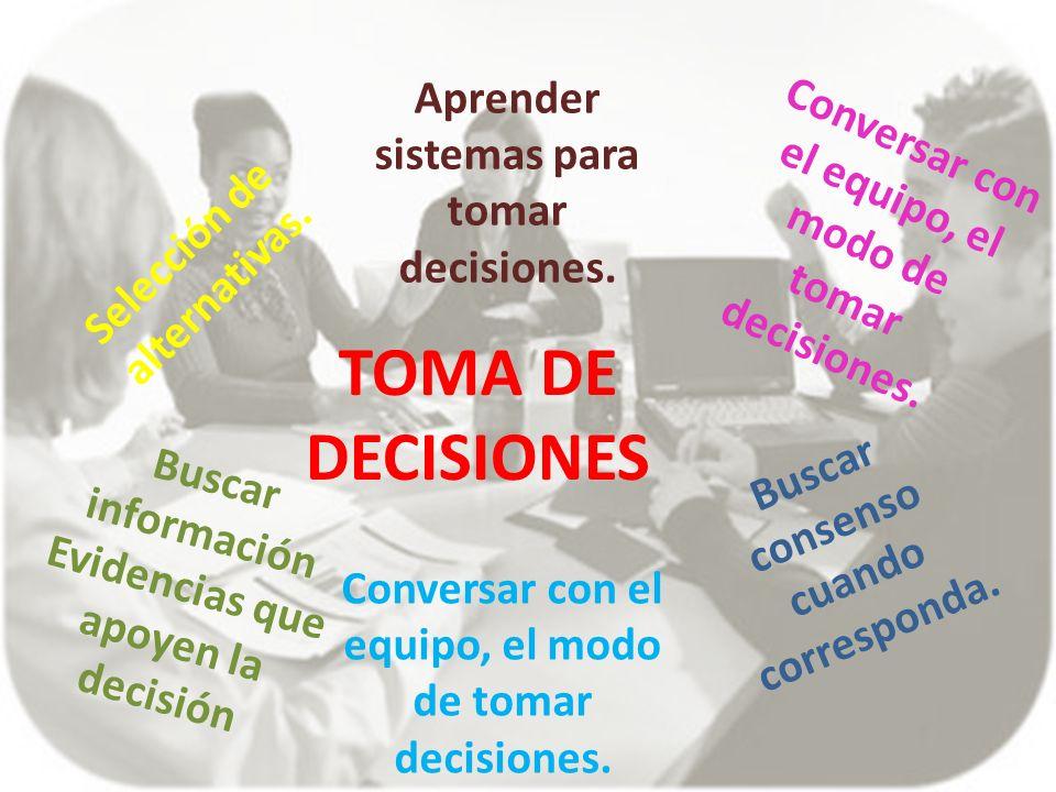 TOMA DE DECISIONES Aprender sistemas para tomar decisiones.