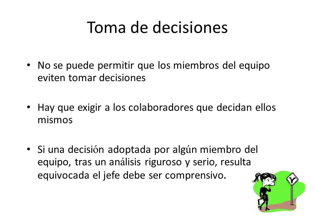 Toma de decisiones No se puede permitir que los miembros del equipo eviten tomar decisiones.
