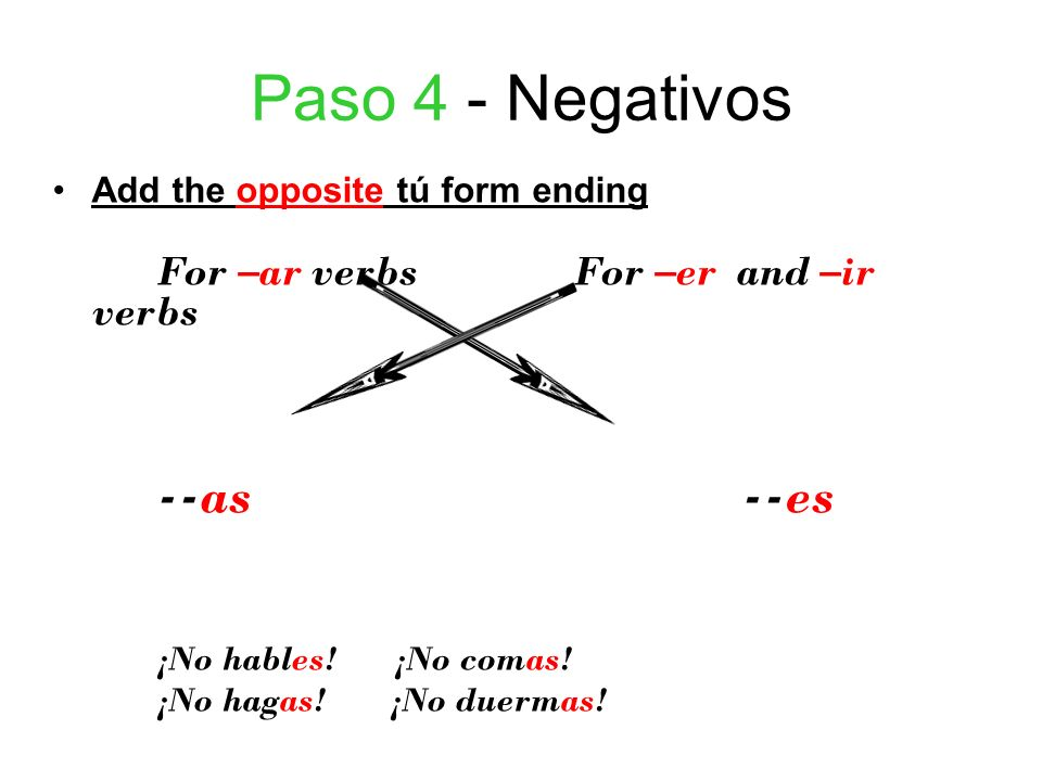 Paso 4 - Negativos --as --es Add the opposite tú form ending