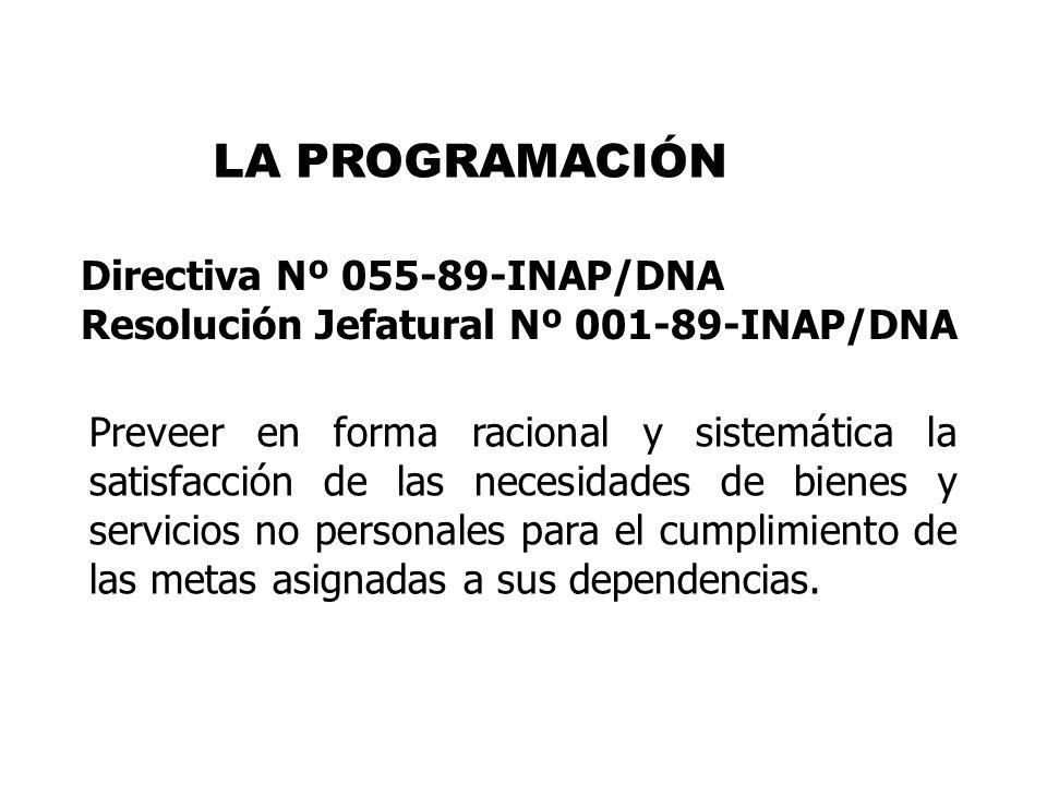 LA PROGRAMACIÓN Directiva Nº 055-89-INAP/DNA