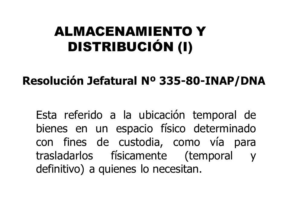 ALMACENAMIENTO Y DISTRIBUCIÓN (I)