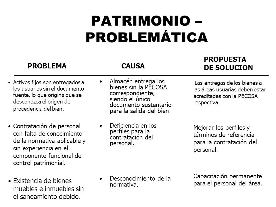 PATRIMONIO – PROBLEMÁTICA