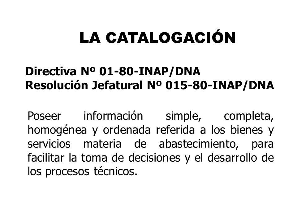 LA CATALOGACIÓN Directiva Nº 01-80-INAP/DNA