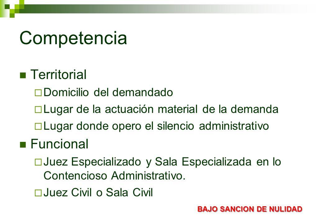 Competencia Territorial Funcional Domicilio del demandado