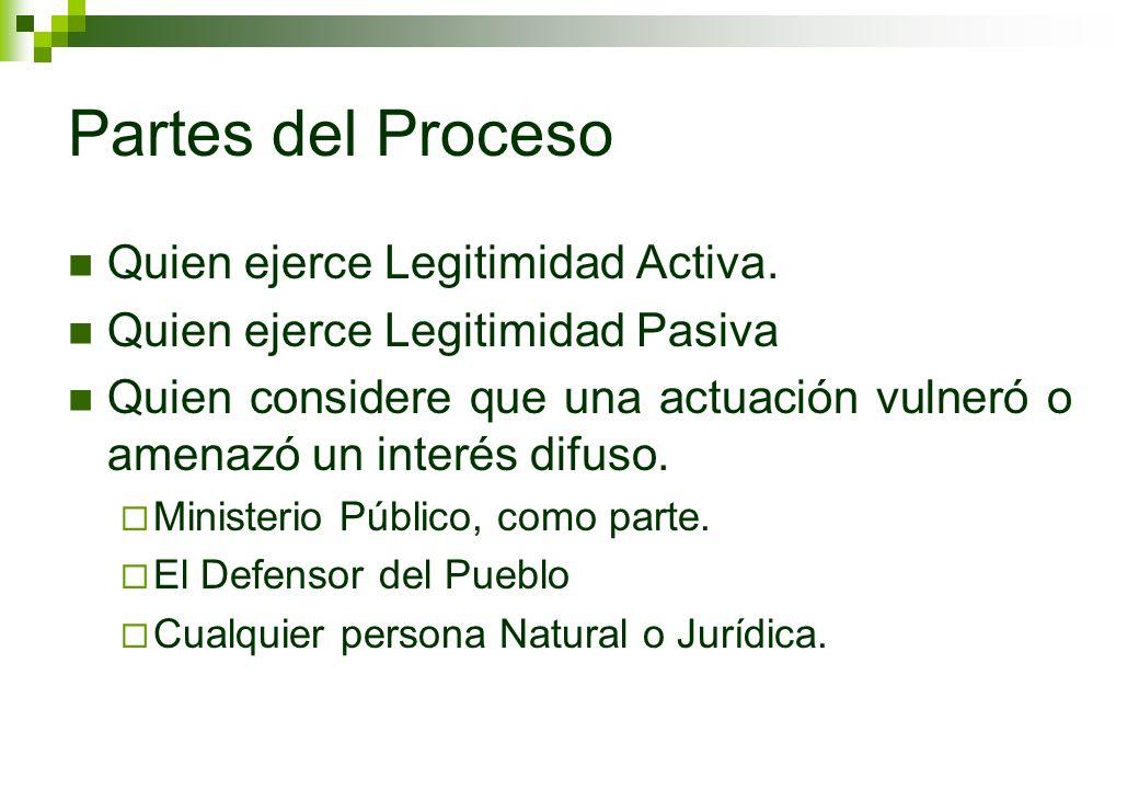 Partes del Proceso Quien ejerce Legitimidad Activa.