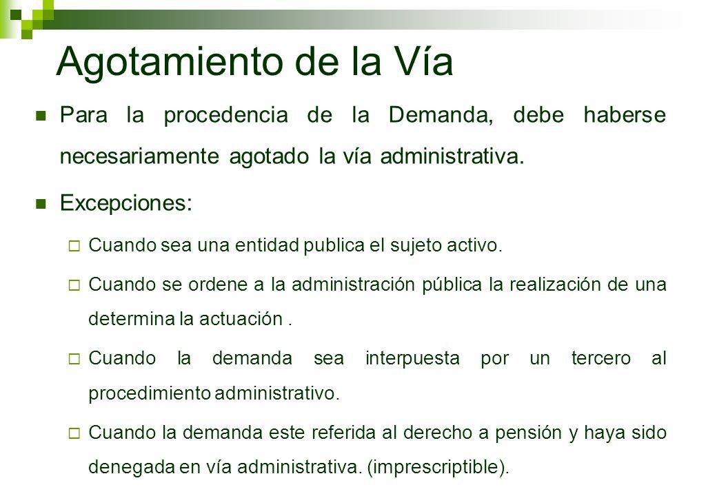 Agotamiento de la VíaPara la procedencia de la Demanda, debe haberse necesariamente agotado la vía administrativa.
