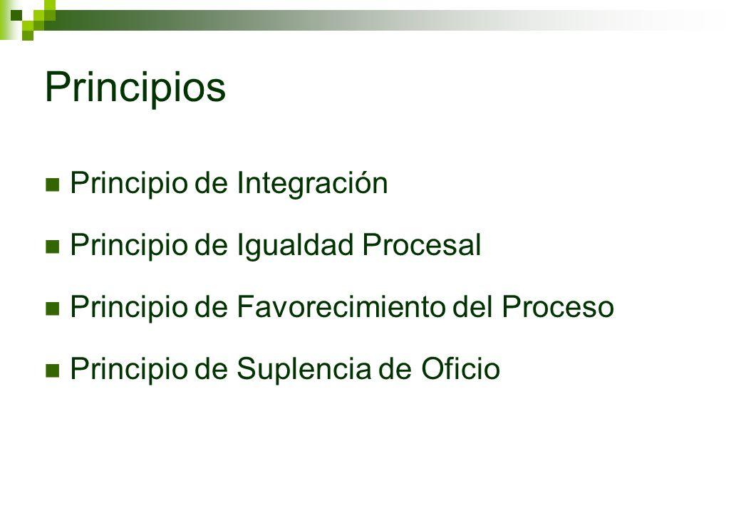Principios Principio de Integración Principio de Igualdad Procesal