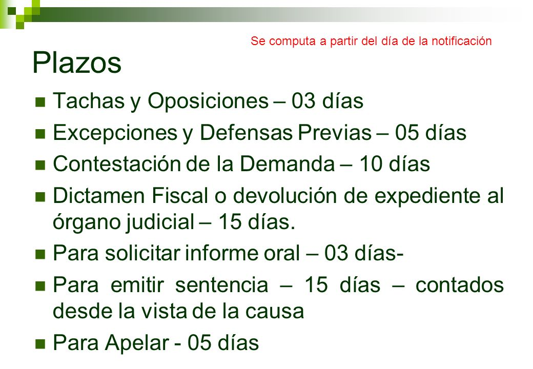 Plazos Tachas y Oposiciones – 03 días