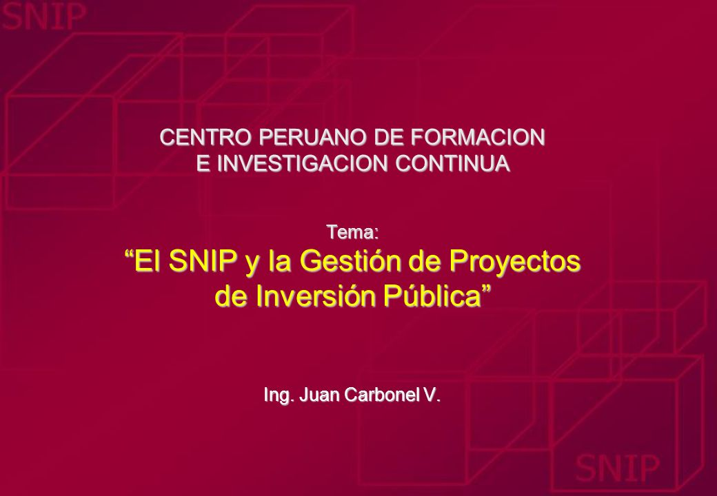 CENTRO PERUANO DE FORMACION E INVESTIGACION CONTINUA Tema: El SNIP y la Gestión de Proyectos de Inversión Pública Ing.