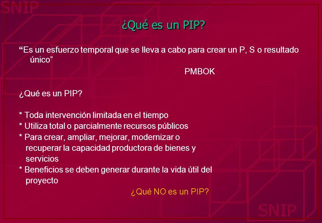 ¿Qué es un PIP Es un esfuerzo temporal que se lleva a cabo para crear un P, S o resultado único PMBOK.