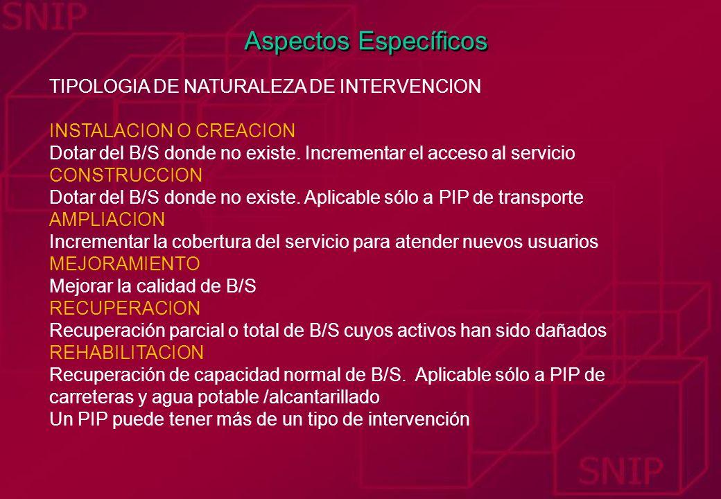 Aspectos Específicos TIPOLOGIA DE NATURALEZA DE INTERVENCION