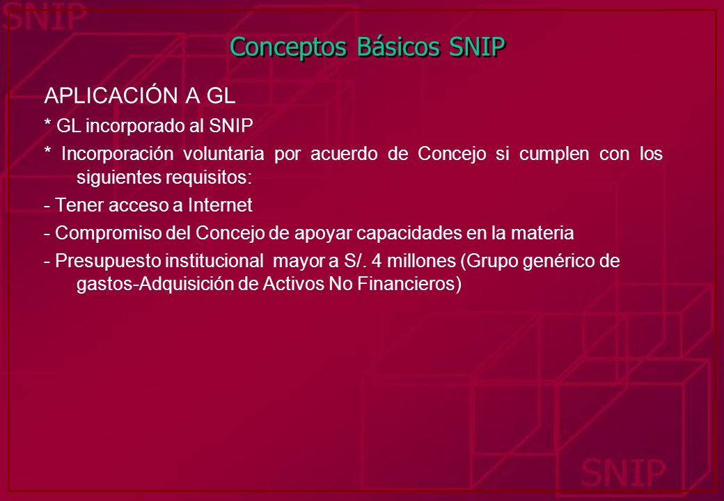 Conceptos Básicos SNIP