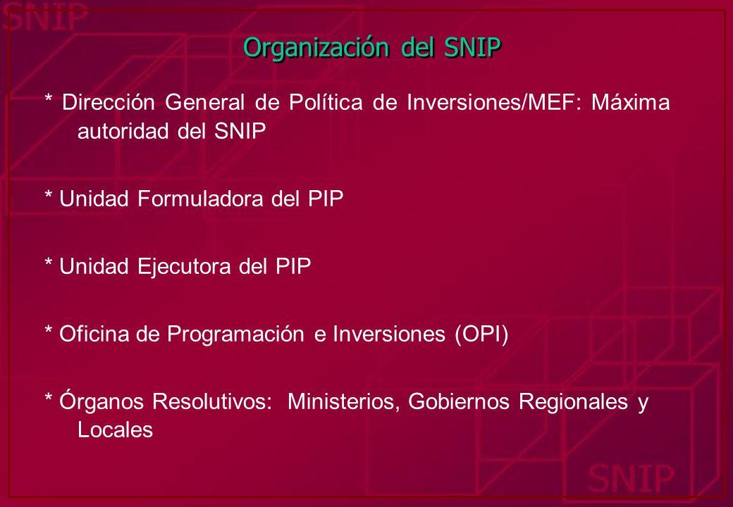 Organización del SNIP* Dirección General de Política de Inversiones/MEF: Máxima autoridad del SNIP.