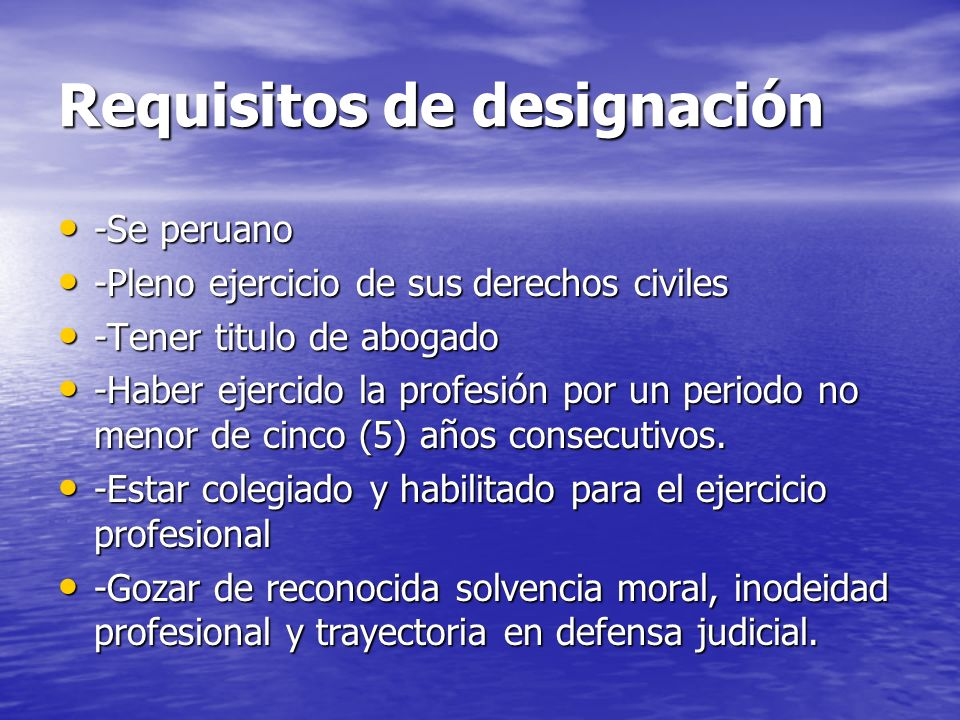 Requisitos de designación
