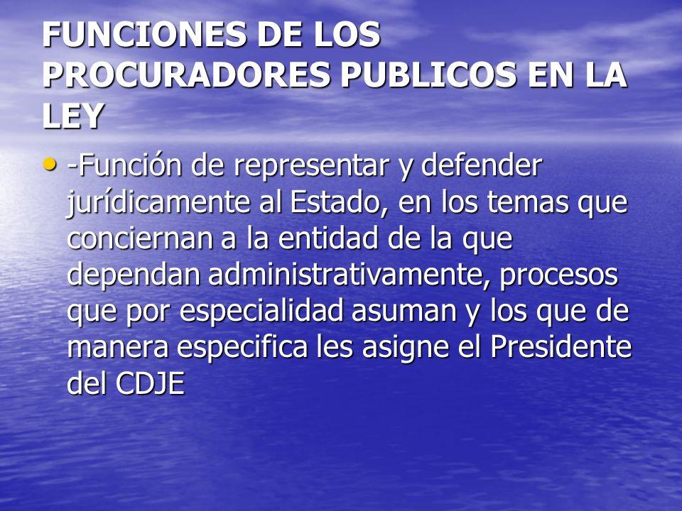 FUNCIONES DE LOS PROCURADORES PUBLICOS EN LA LEY