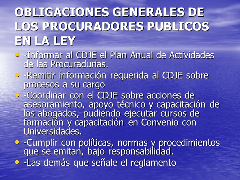OBLIGACIONES GENERALES DE LOS PROCURADORES PUBLICOS EN LA LEY