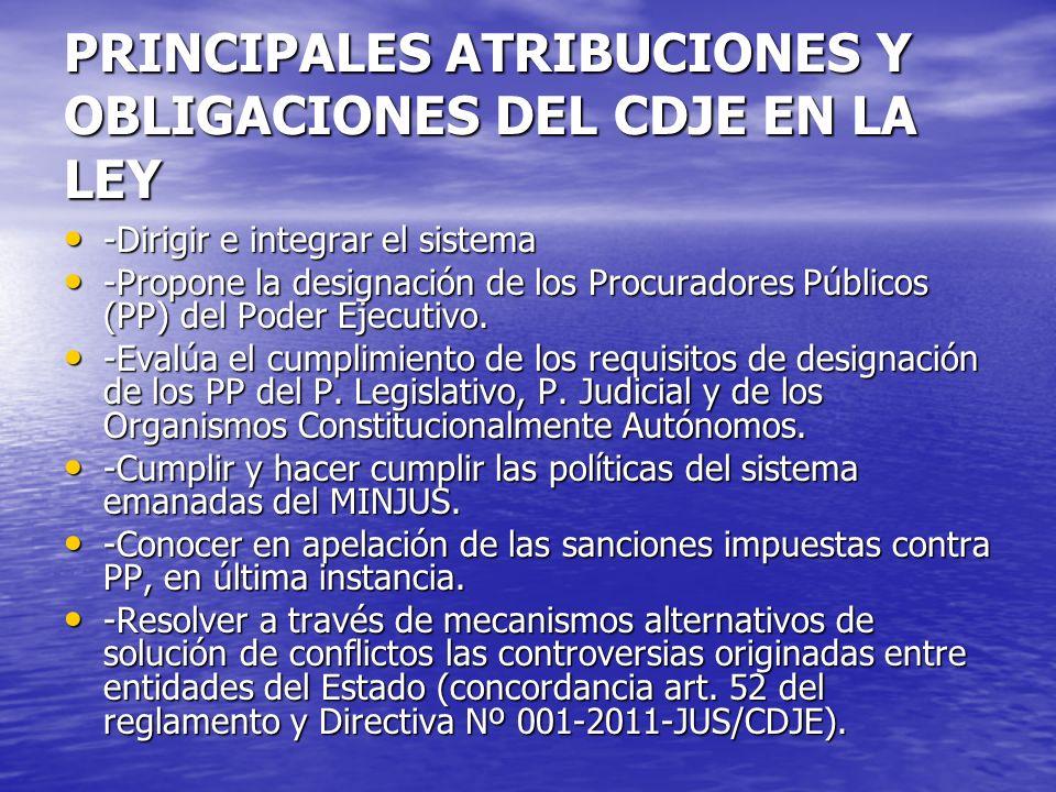 PRINCIPALES ATRIBUCIONES Y OBLIGACIONES DEL CDJE EN LA LEY