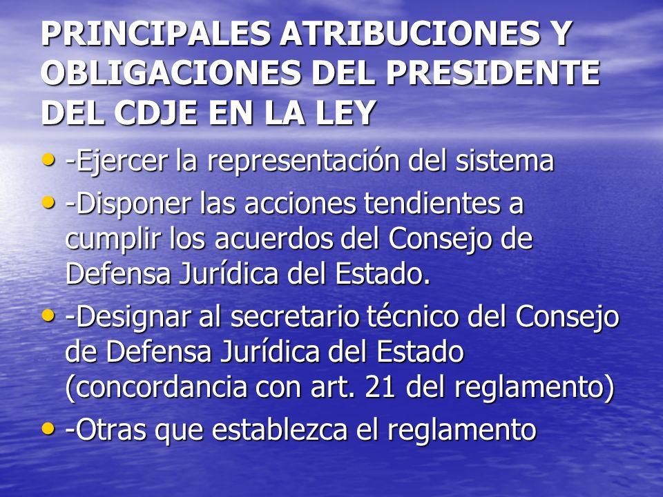 PRINCIPALES ATRIBUCIONES Y OBLIGACIONES DEL PRESIDENTE DEL CDJE EN LA LEY