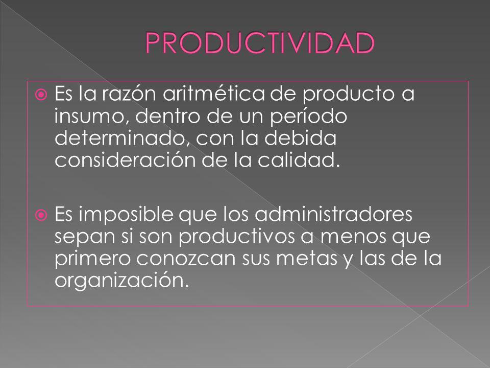 PRODUCTIVIDAD Es la razón aritmética de producto a insumo, dentro de un período determinado, con la debida consideración de la calidad.
