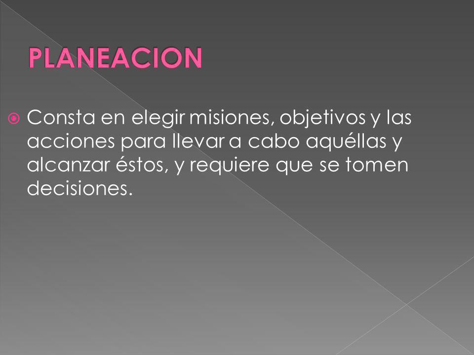 PLANEACION Consta en elegir misiones, objetivos y las acciones para llevar a cabo aquéllas y alcanzar éstos, y requiere que se tomen decisiones.