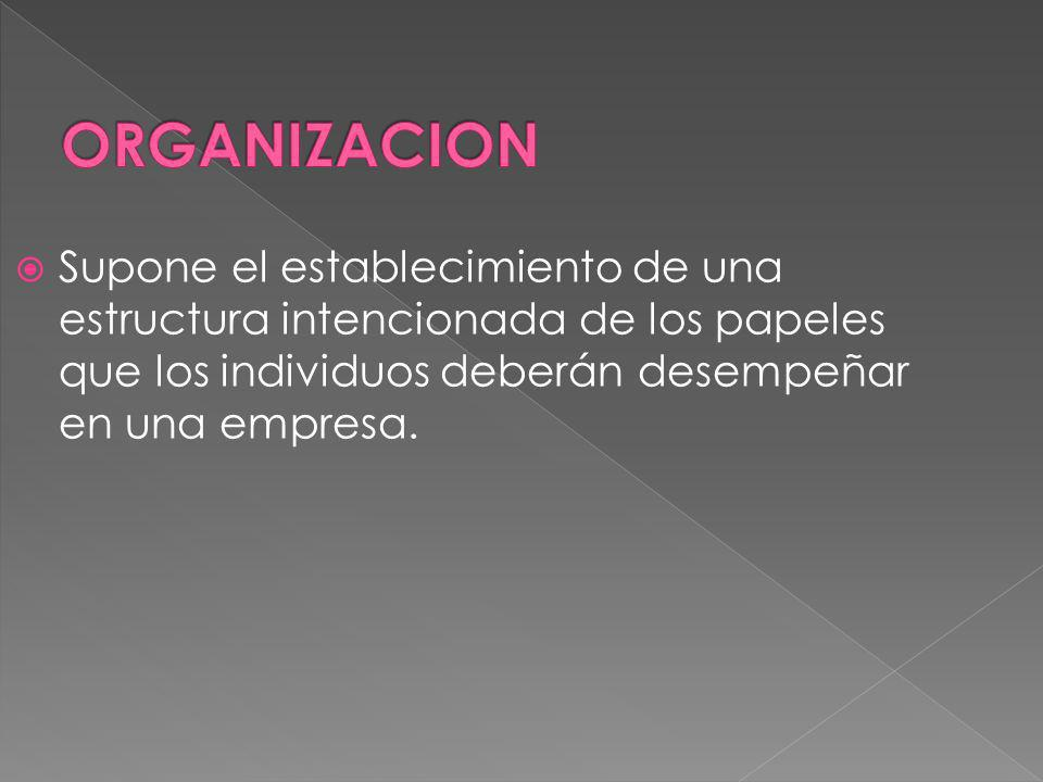 ORGANIZACION Supone el establecimiento de una estructura intencionada de los papeles que los individuos deberán desempeñar en una empresa.