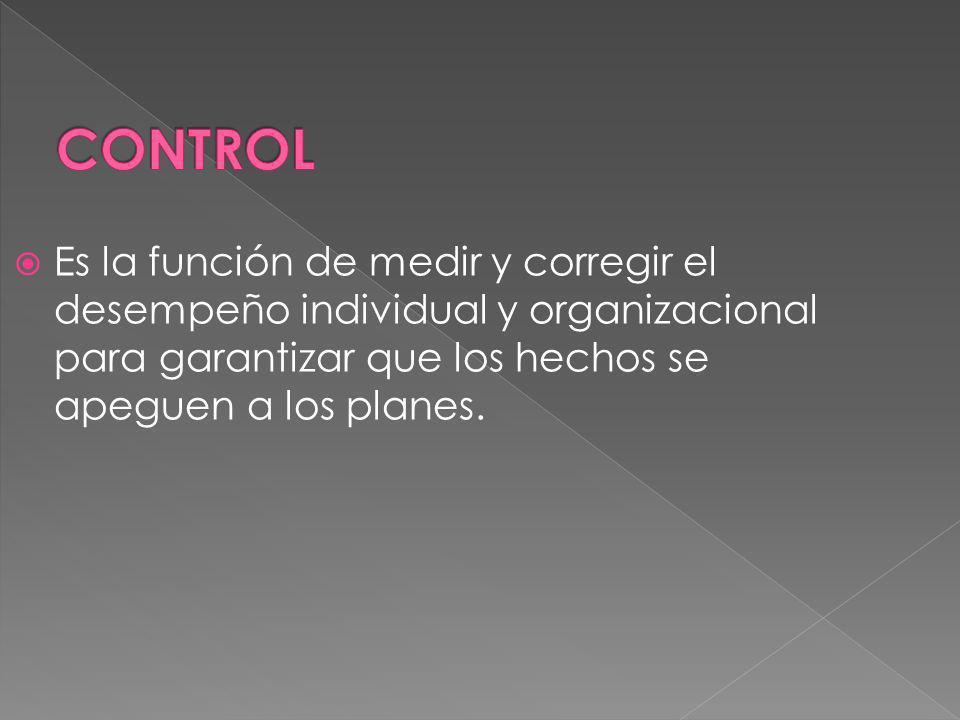 CONTROL Es la función de medir y corregir el desempeño individual y organizacional para garantizar que los hechos se apeguen a los planes.
