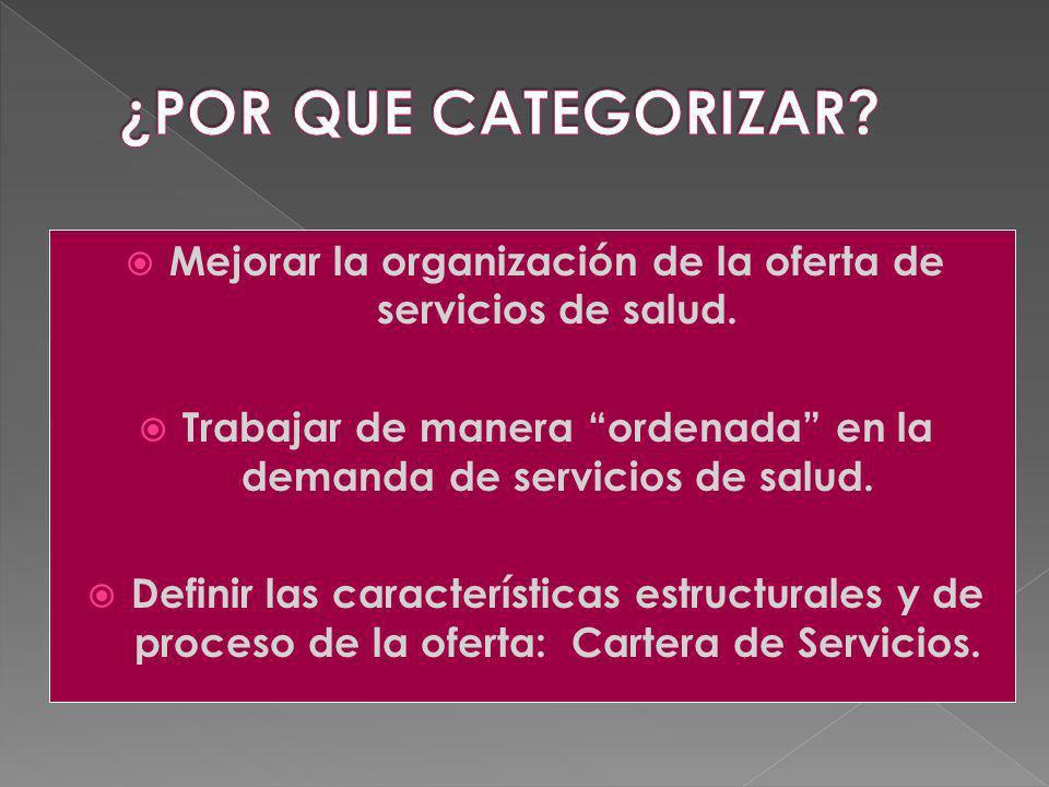 ¿POR QUE CATEGORIZAR Mejorar la organización de la oferta de servicios de salud. Trabajar de manera ordenada en la demanda de servicios de salud.