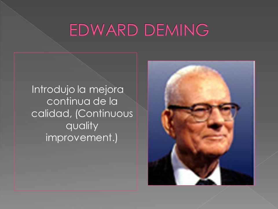 EDWARD DEMING Introdujo la mejora continua de la calidad, (Continuous quality improvement.)