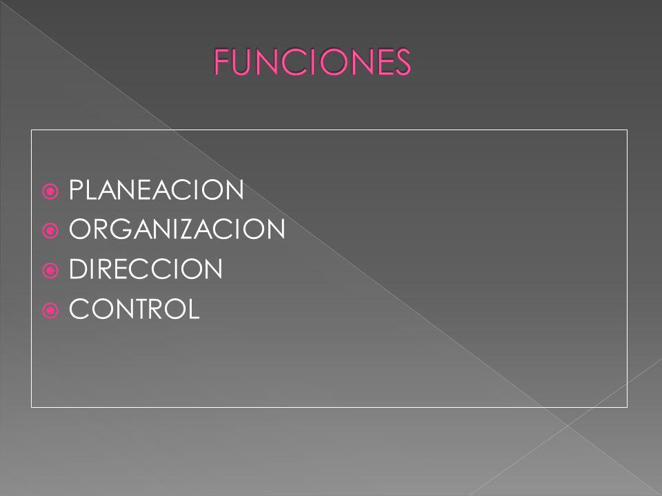 FUNCIONES PLANEACION ORGANIZACION DIRECCION CONTROL
