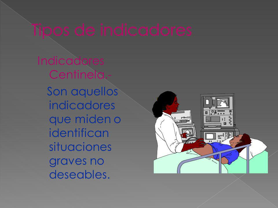 Tipos de indicadores Indicadores Centinela.- Son aquellos indicadores que miden o identifican situaciones graves no deseables.