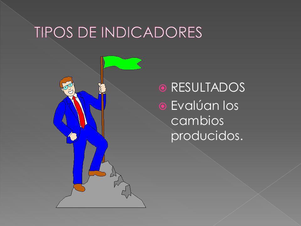 TIPOS DE INDICADORES RESULTADOS Evalúan los cambios producidos.