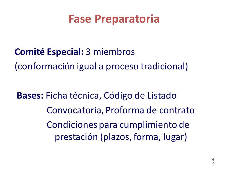 Fase Preparatoria Comité Especial: 3 miembros