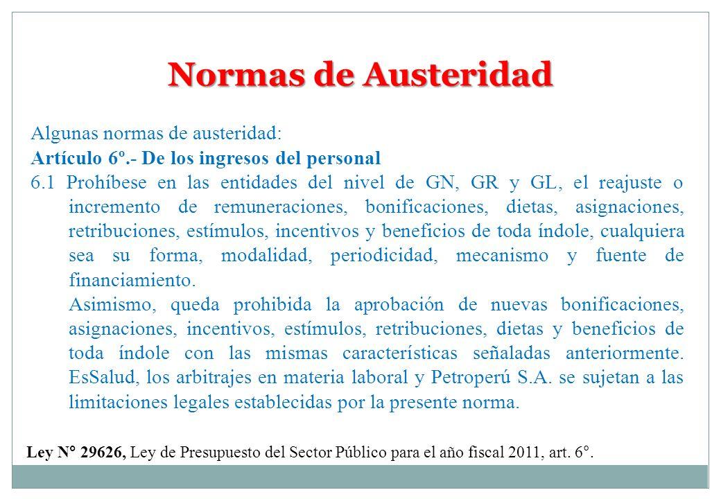 Normas de Austeridad Algunas normas de austeridad: