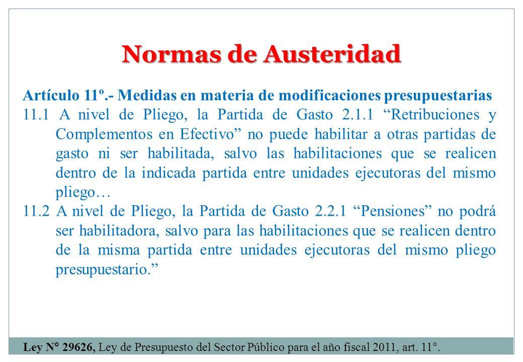 Normas de Austeridad Artículo 11º.- Medidas en materia de modificaciones presupuestarias.