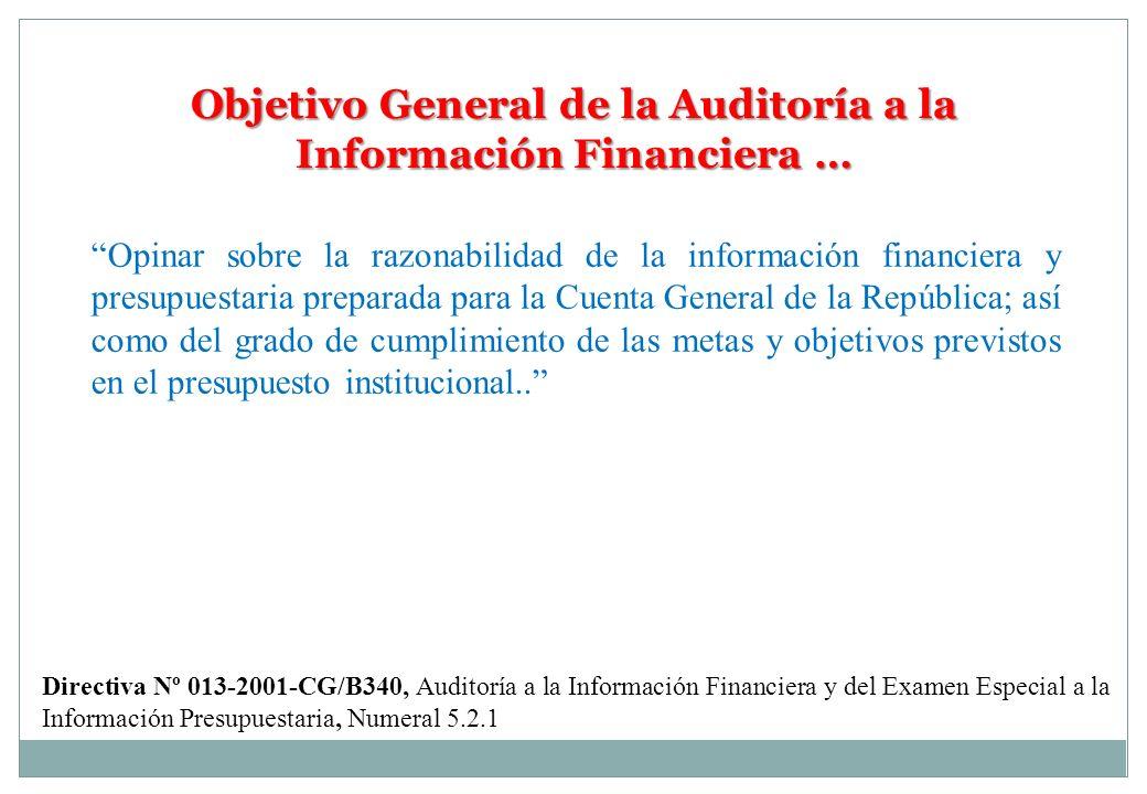 Objetivo General de la Auditoría a la Información Financiera …