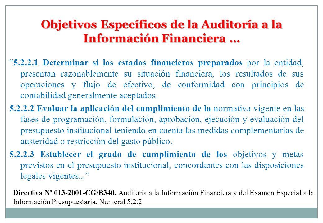 Objetivos Específicos de la Auditoría a la Información Financiera …