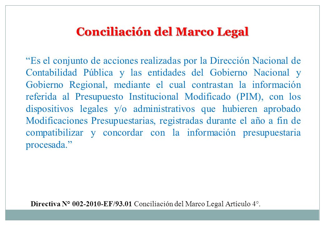 Conciliación del Marco Legal