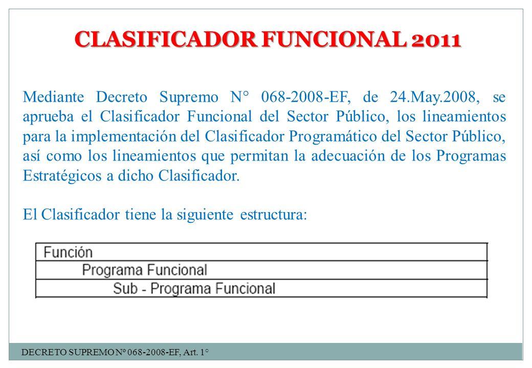 CLASIFICADOR FUNCIONAL 2011