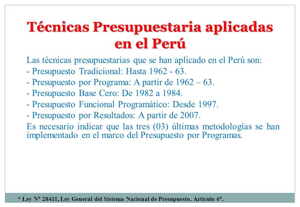 Técnicas Presupuestaria aplicadas en el Perú