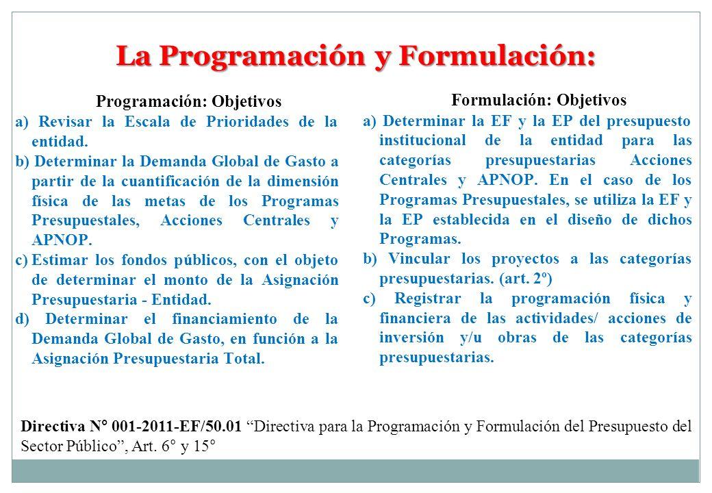 La Programación y Formulación: Formulación: Objetivos