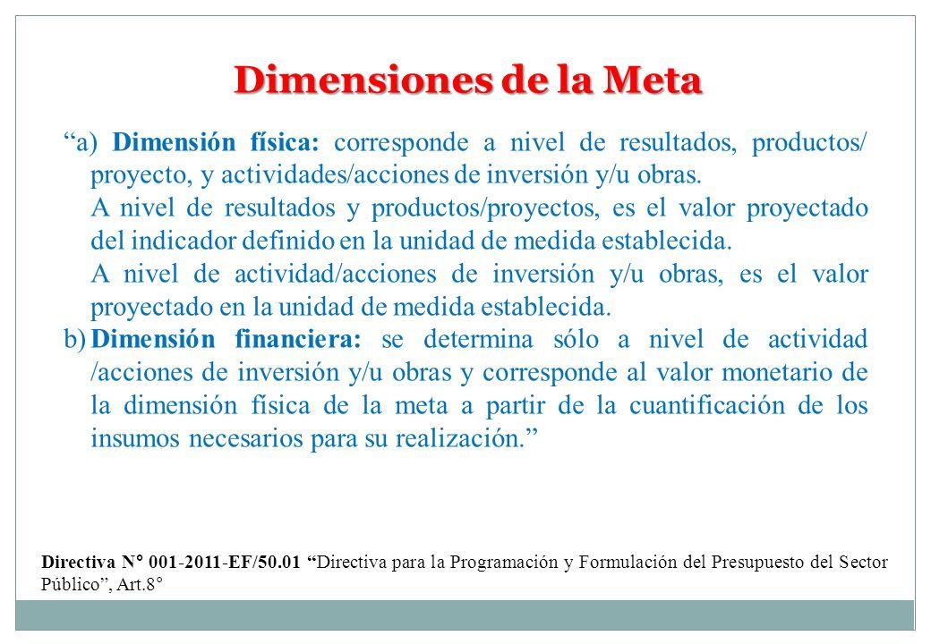 Dimensiones de la Meta a) Dimensión física: corresponde a nivel de resultados, productos/ proyecto, y actividades/acciones de inversión y/u obras.