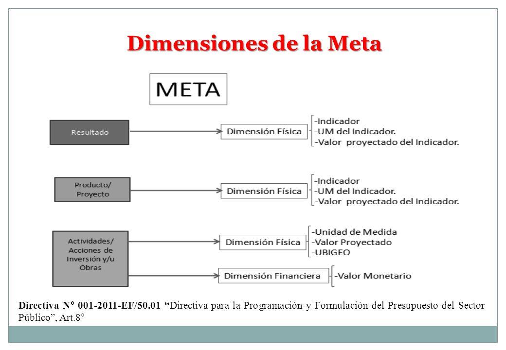 Dimensiones de la Meta Directiva N° 001-2011-EF/50.01 Directiva para la Programación y Formulación del Presupuesto del Sector Público , Art.8°