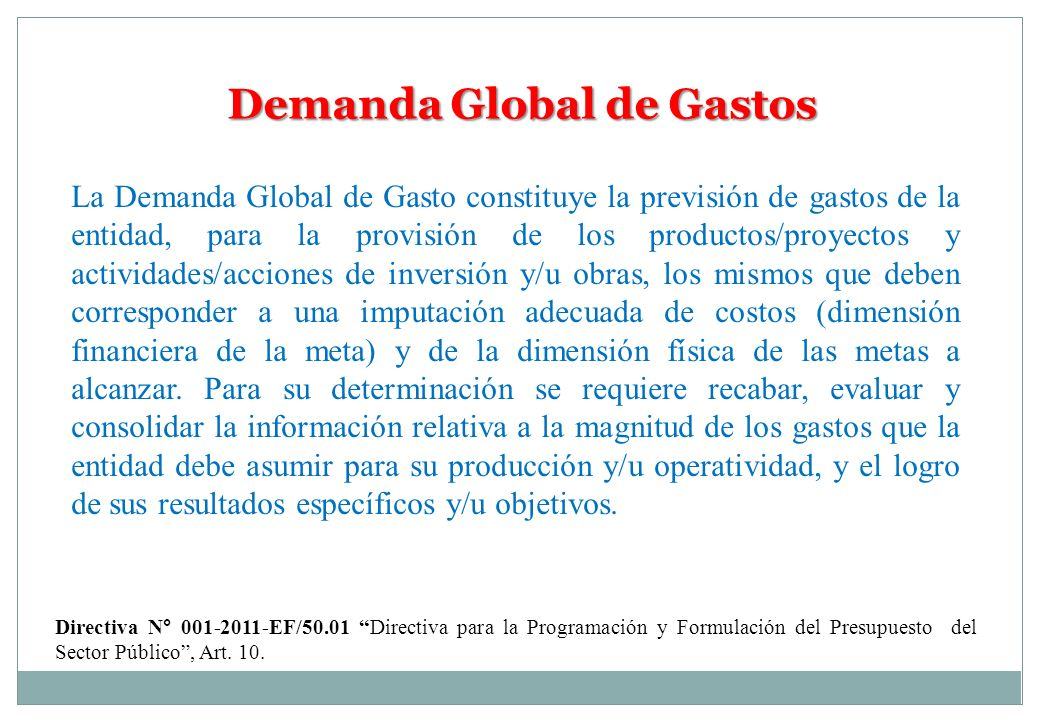 Demanda Global de Gastos