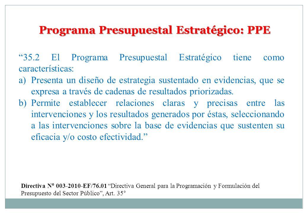 Programa Presupuestal Estratégico: PPE