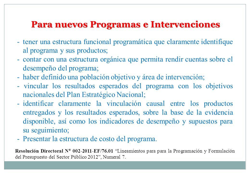 Para nuevos Programas e Intervenciones