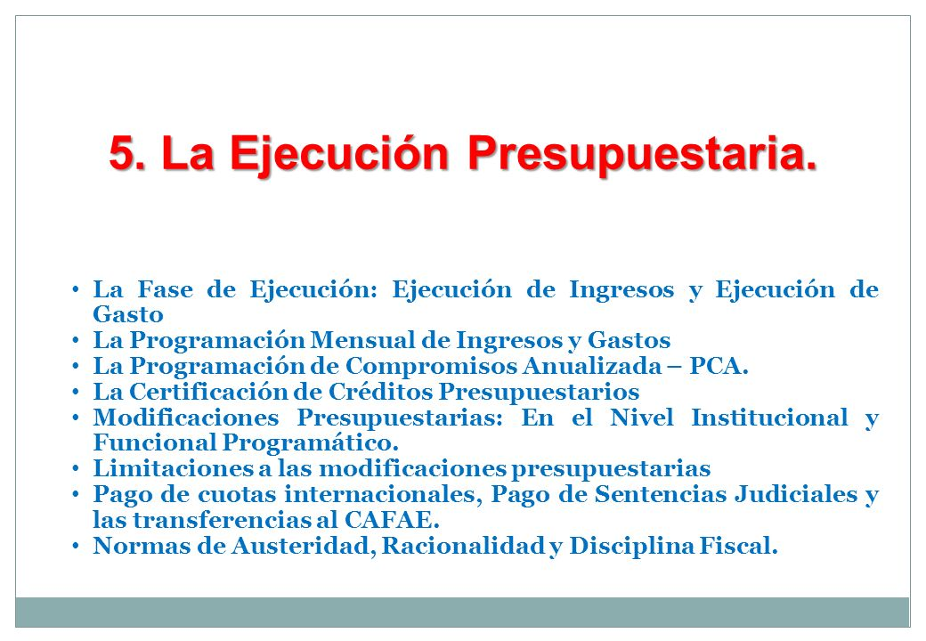 5. La Ejecución Presupuestaria.