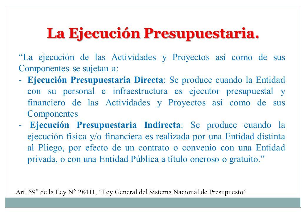 La Ejecución Presupuestaria.