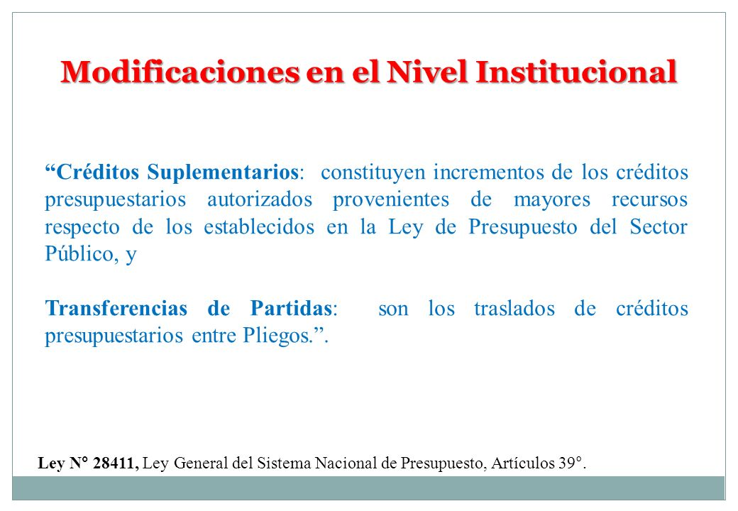 Modificaciones en el Nivel Institucional