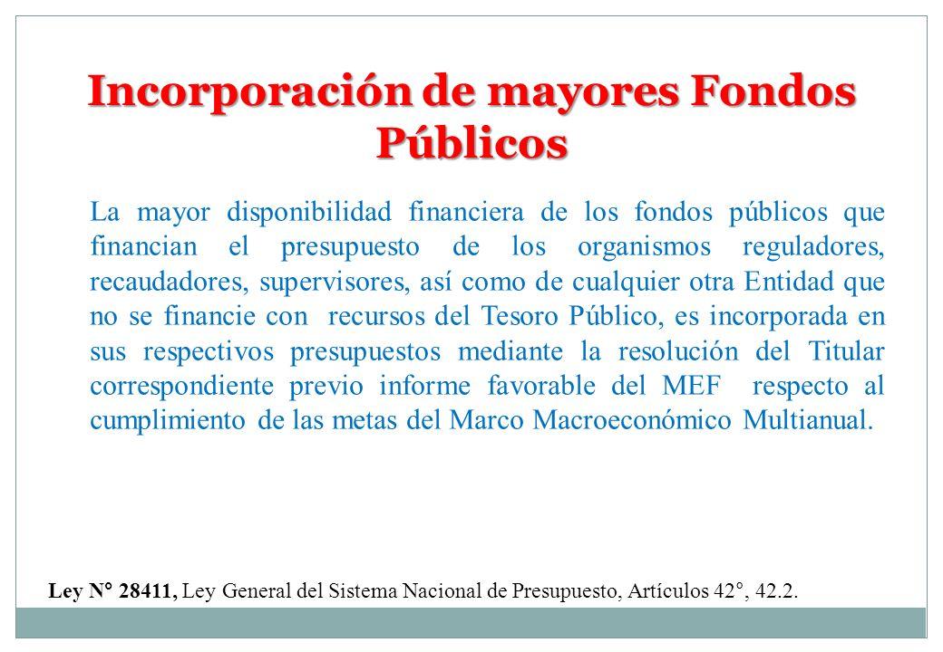 Incorporación de mayores Fondos Públicos