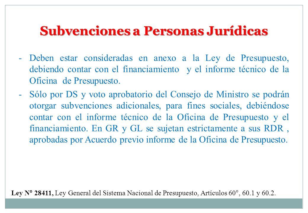 Subvenciones a Personas Jurídicas